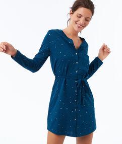 Chemise de nuit bleu canard.