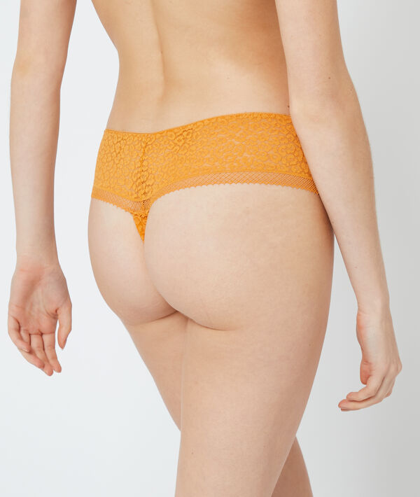 Tanga en dentelle imprimé animal;${refinementColor}