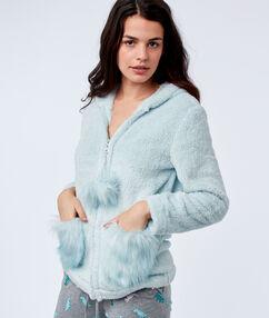 Veste à capuche en fausse fourrure bleu lagon.