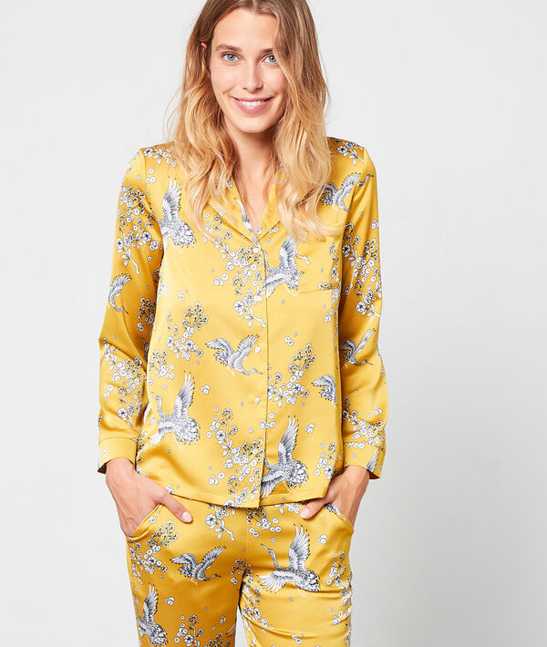 Pyjamaoberteil mit Vogel-Print