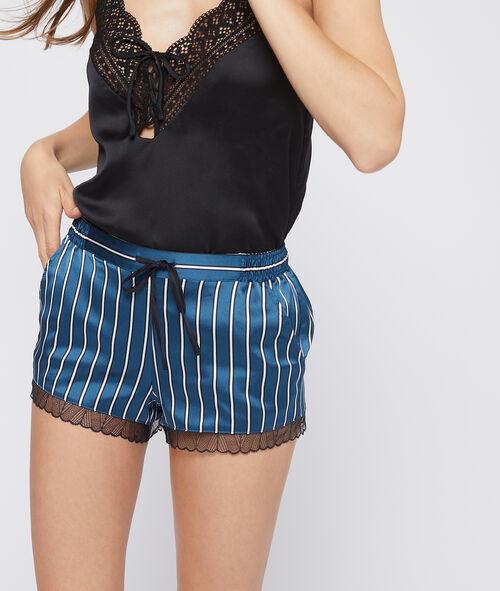Gestreifte Shorts aus seidig schimmerndem Material mit Spitzensaum