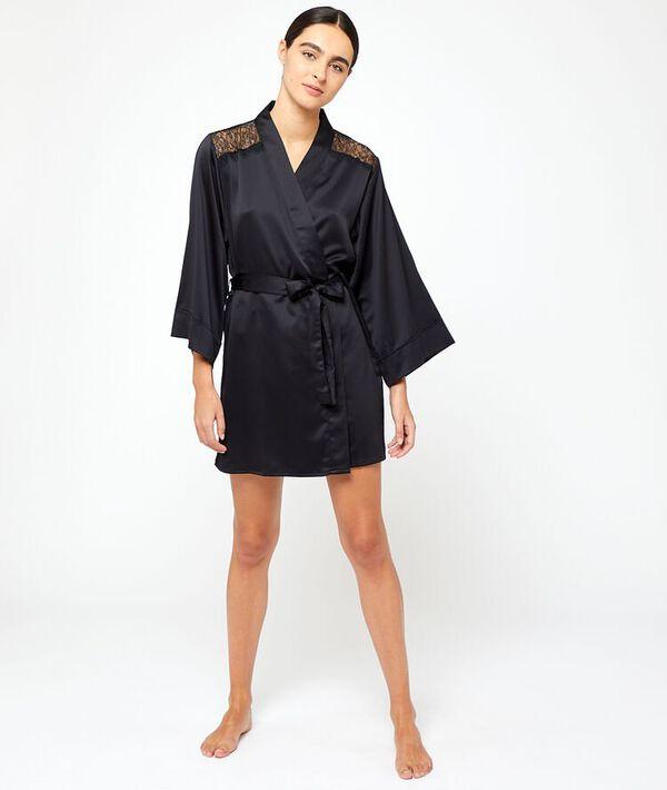 Kimono mit Schultern aus seidig schimmerndem Material und einem Rücken aus Spitze;${refinementColor}