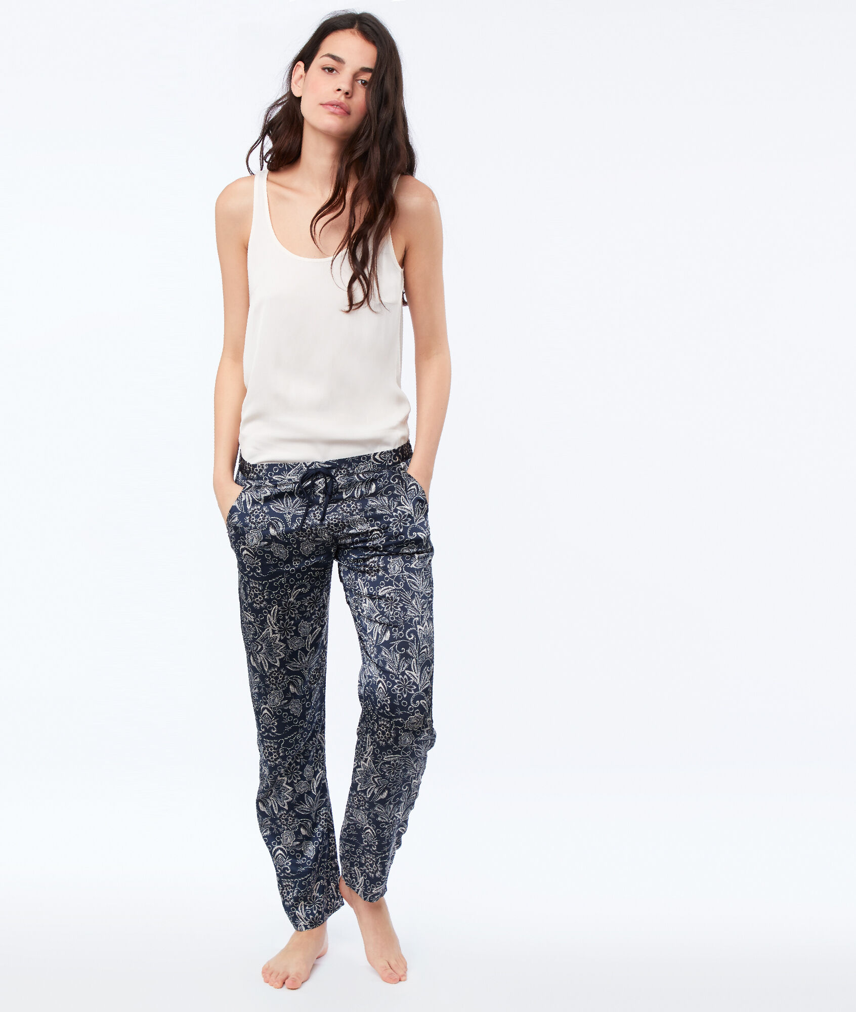 538a432db05f0 Pantalon de pyjama en satin - SELLY - BLEU - Etam