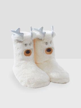 Chaussons bottines animaux écru.