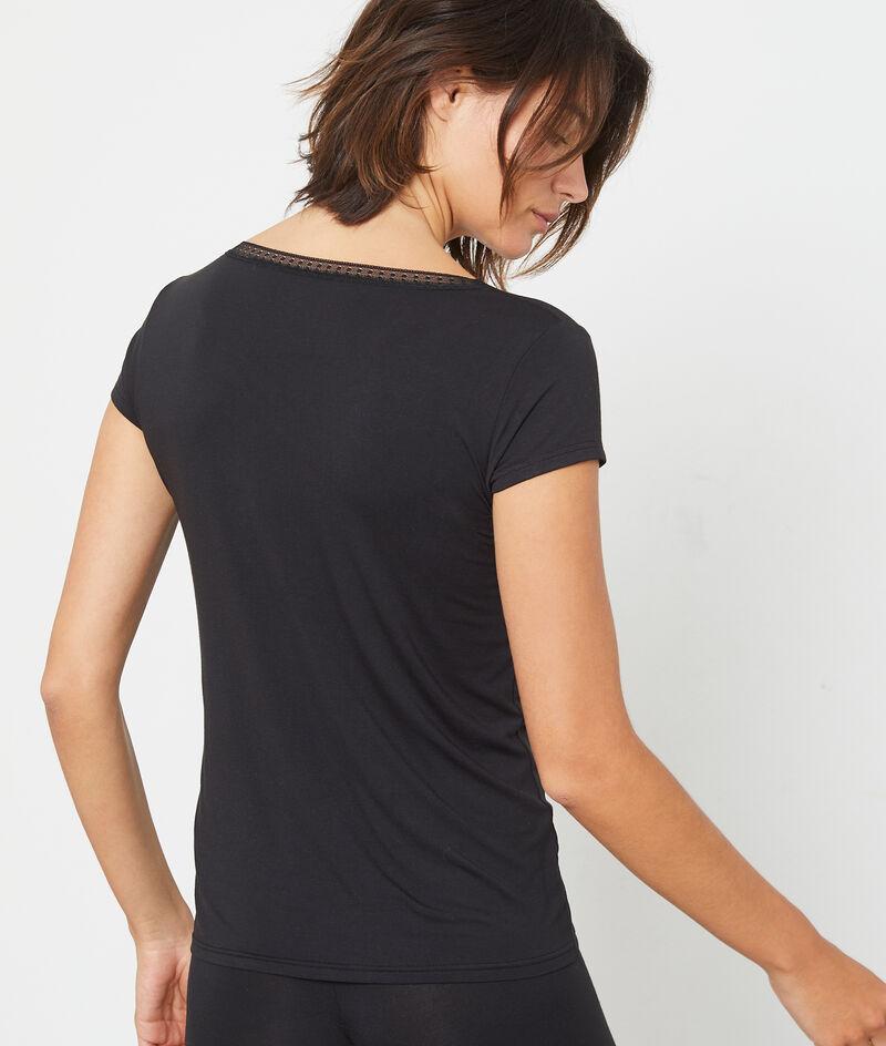 T-Shirt décolleté V dentelle;${refinementColor}