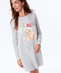 Chemise de nuit détails en fausse fourrure gris.