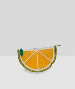Trousse de toilette citron jaune.