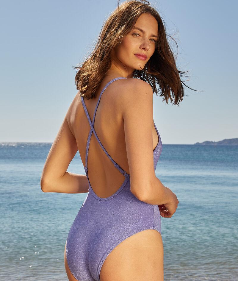 Irisierender Badeanzug mit gekreuztem Rücken;${refinementColor}