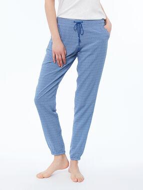 Pantalon imprimé bleu.
