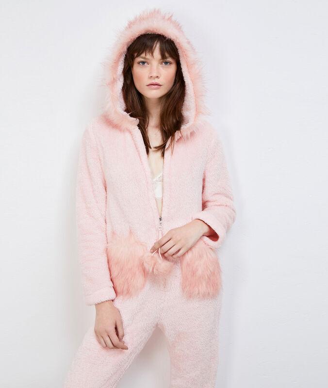 Combinaison pyjama doudou autruche rose.