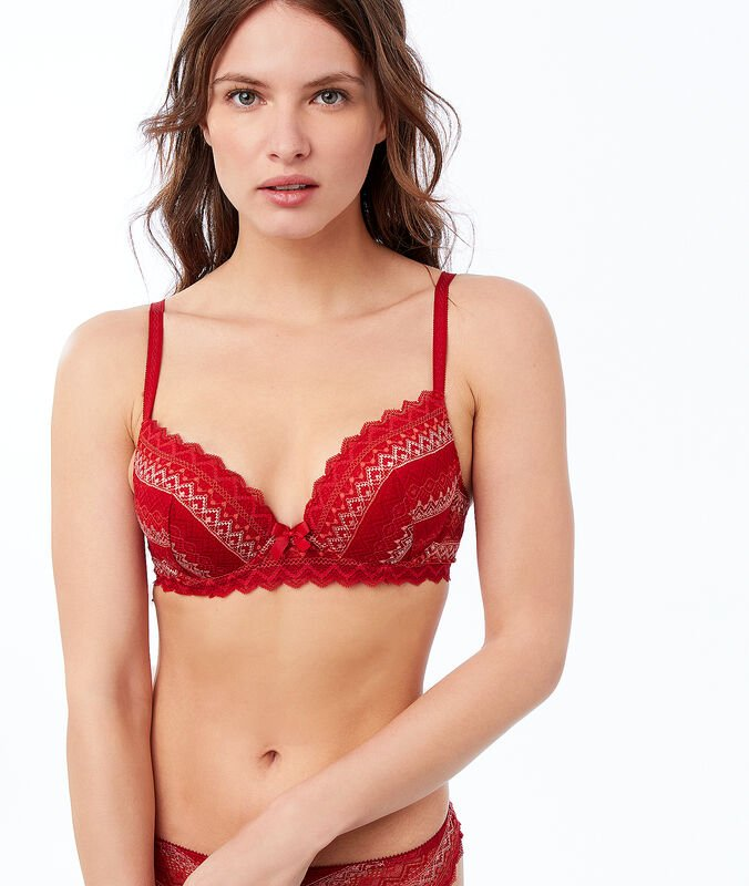 Soutien-gorge n°1 - magic up dentelle imprime fond brique.