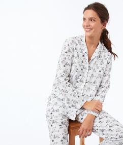 Chemise de pyjama à motifs ecru.