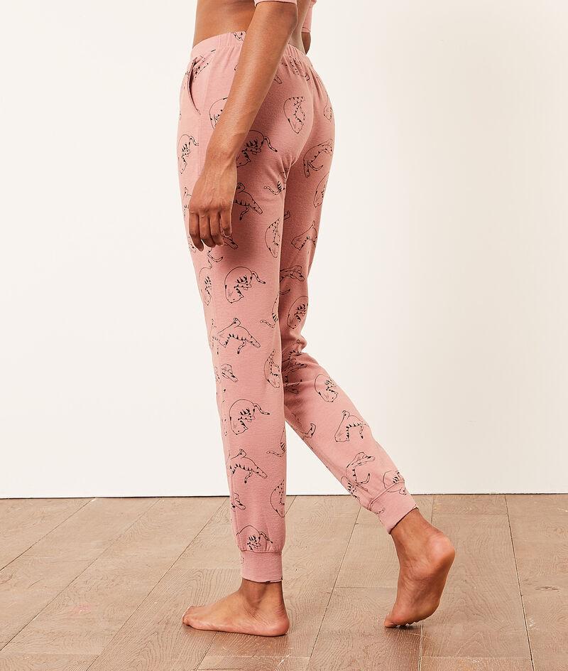 Pyjamahose mit Katzen-Print;${refinementColor}