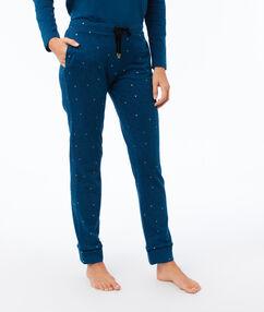 Pantalon imprimé bleu canard.
