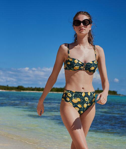 Bas de bikini multiposition, imprimé citrons
