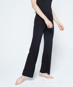 Pantalon fluide taille haute noir.