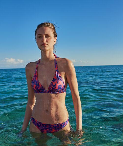 Bas de bikini simple, imprimé feuillage