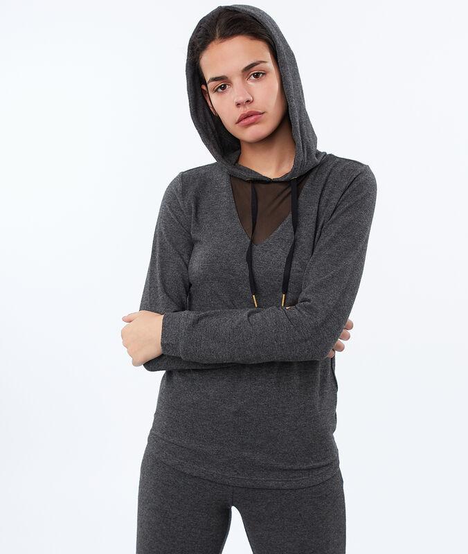 Top homewear décolleté résille gris.