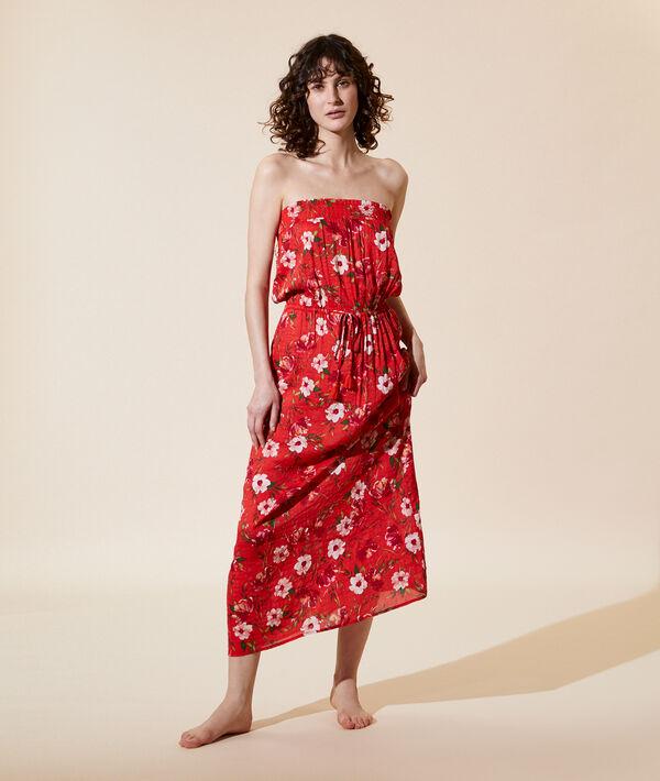 Langes Kleid mit floralem Print;${refinementColor}