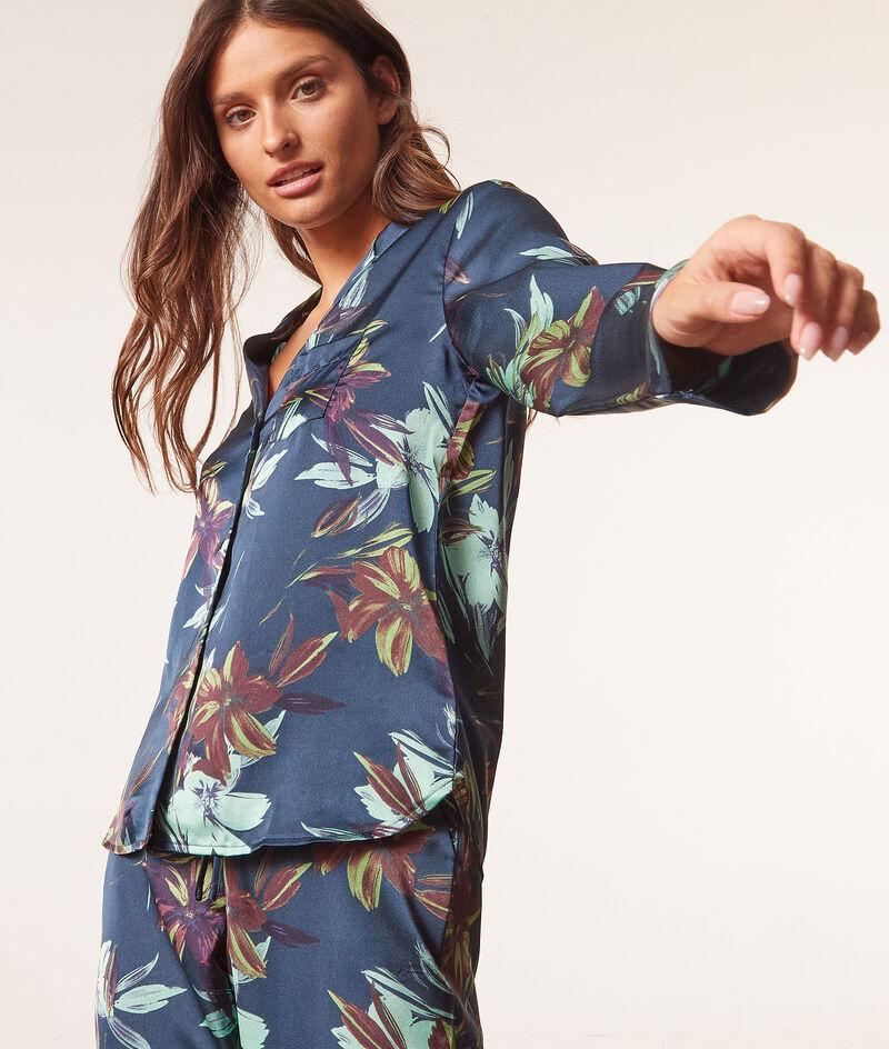 Chemise pyjama satinée imprimée;${refinementColor}