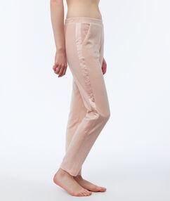 Pantalon homewear velours bande satin rose.