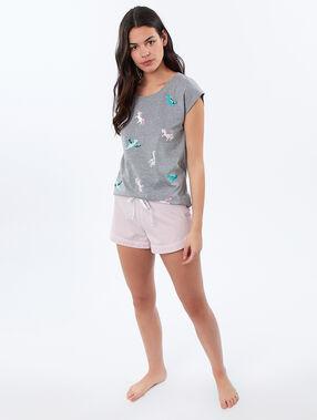 T-shirt imprimé dinosaures et licornes gris.