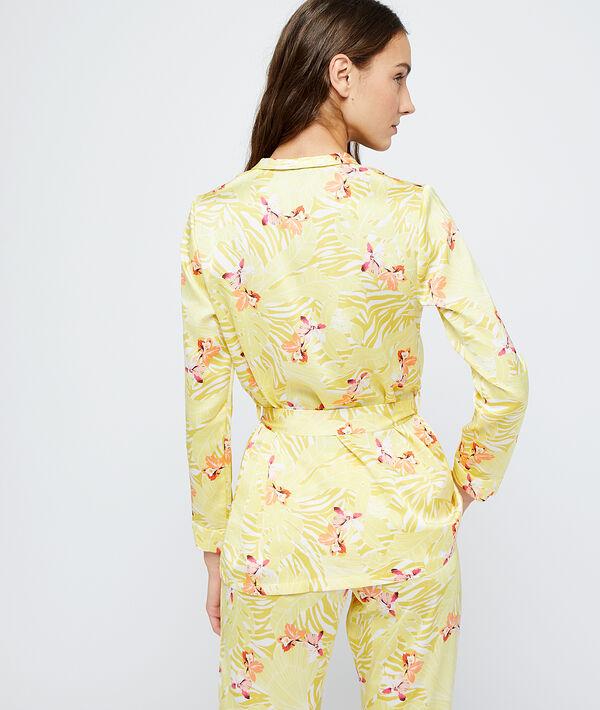 Seidig schimmerndes Pyjamaoberteil mit Gürtel aus recyceltem Polyester;${refinementColor}