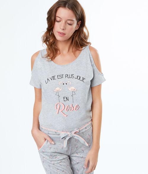 d3183972ff T-shirt épaules dénudées à message - KATELYNE - GRIS - Etam