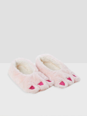 Chaussons souples fantaisie rose.