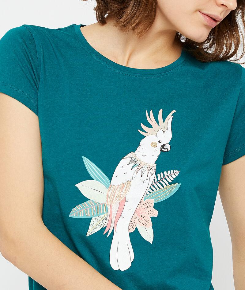 T-Shirt aus Bio-Baumwolle mit Papagei-Print;${refinementColor}