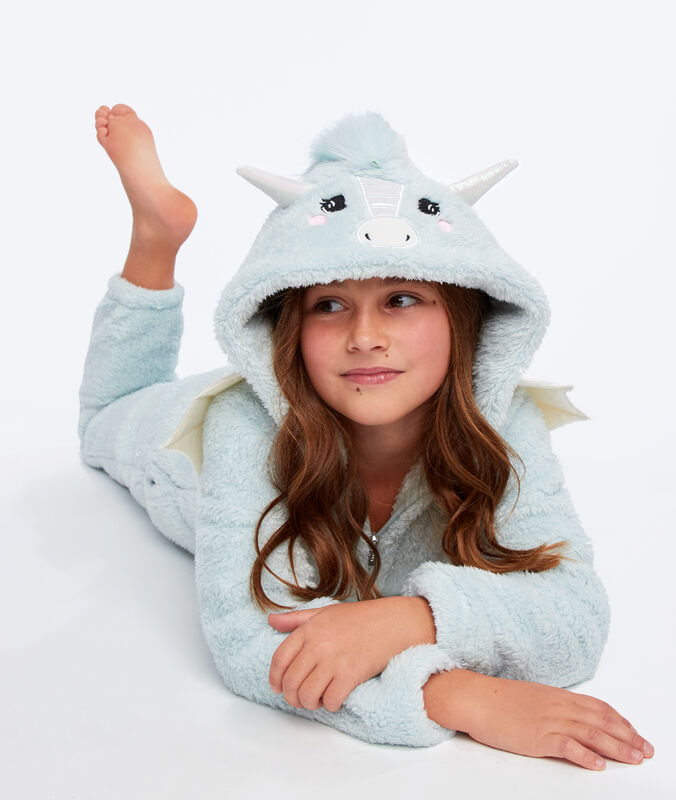 Combinaison pyjama dragon enfant bleu lagon.