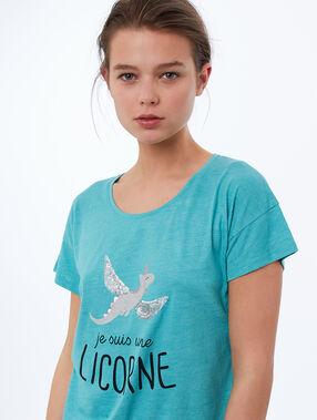 T-shirt imprimé bleu.