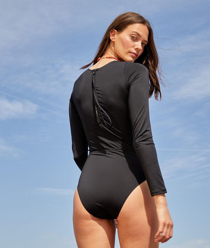 Maillot 1 pièce de surf manches longues zippé au dos;${refinementColor}