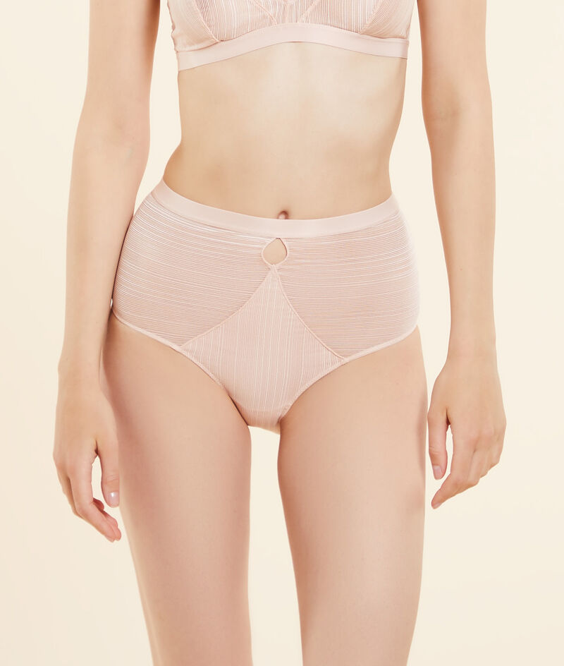 Panty mit hoher Taille aus strukturierter Spitze;${refinementColor}
