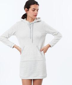 Robe sweat homewear en molleton ecru.