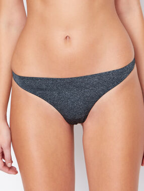 Tanga micro et résille, maille chinée anthracite.