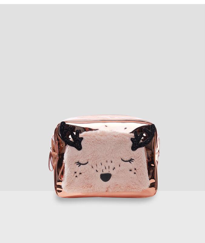 Trousse de toilette animal rose.