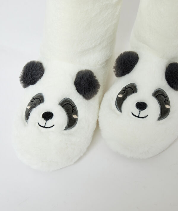 Chaussons bottines panda fourrées;${refinementColor}