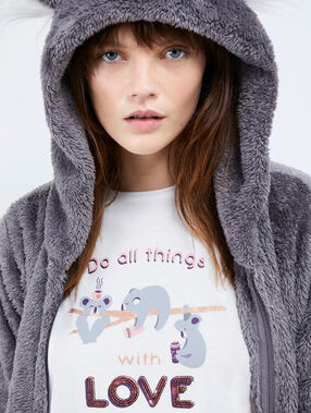 "Pyjama 3 pièces panda ""with love"" anthracite."