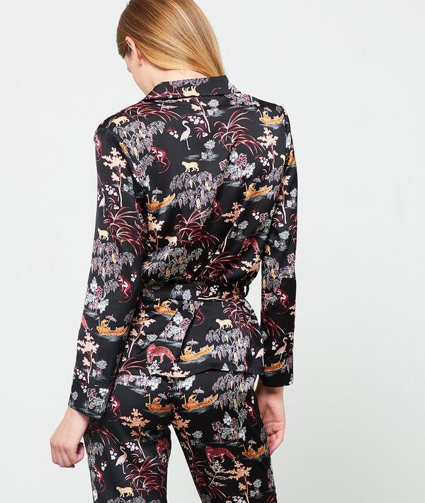Seidig schimmerndes Pyjamaoberteil mit Print