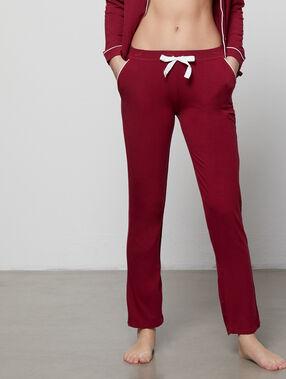 Pantalon de pyjama noué bordeaux grenat.
