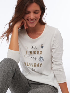 T-shirt à message ecru.