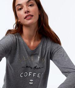 T-shirt à message avec noeud anthracite.
