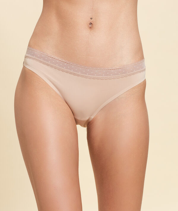 Culotte en microfibre bords dentelle;${refinementColor}